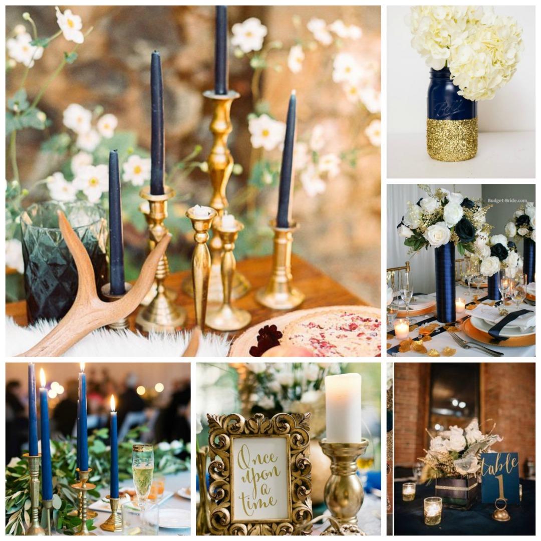 Antique Gold & Dusky Blue Wedding Theme
